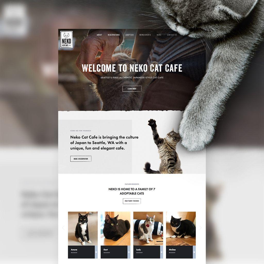 Web design for seattleus cat cafe neko nekoseattle catcafe