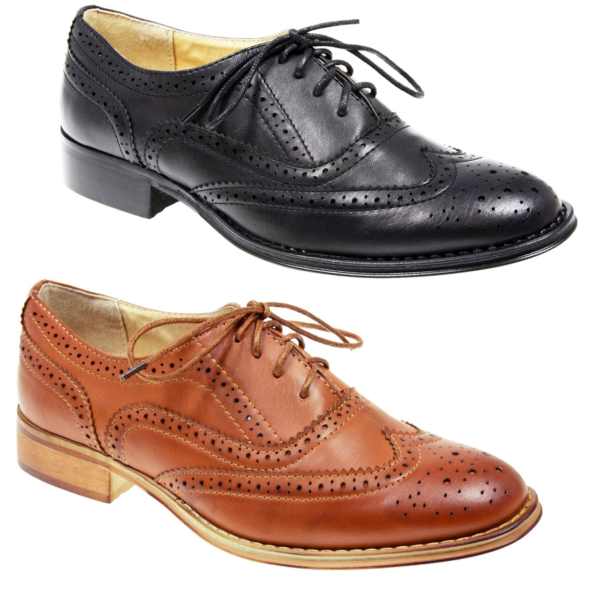 Womens Las Lace Up Flat Office Formal School Oxford Brogue Black Tan Shoes Ebay