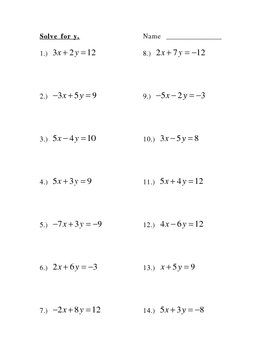 Solve For Y, Slope Intercept Form. Good worksheet for extra ...