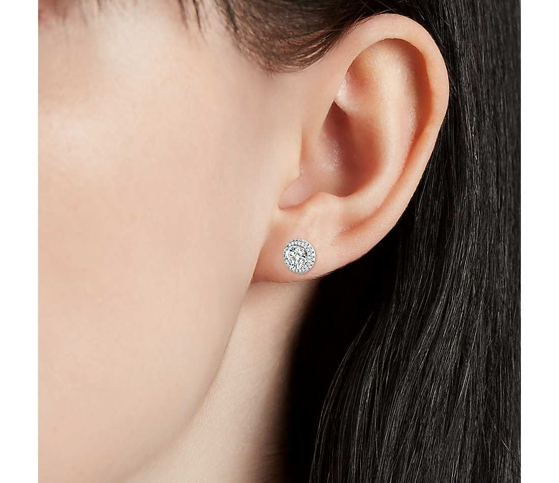 004a47600 Blue Nile Signature Rollover Halo Diamond Stud Earrings in Platinum (2 ct.  tw.)