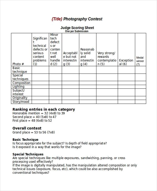 24  score sheet templates