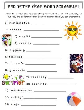 END OF THE YEAR WORD SCRAMBLE (A THINKING ACTIVITY) * 26 SCRAMBLED ...