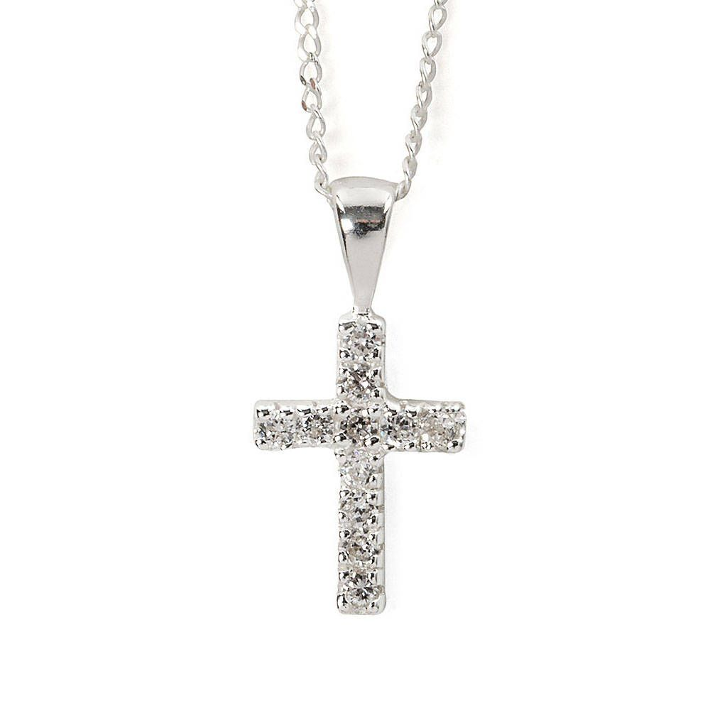 Sterling silver pav crystal cross pendant necklace claires sterling silver pav crystal cross pendant necklace claires aloadofball Images