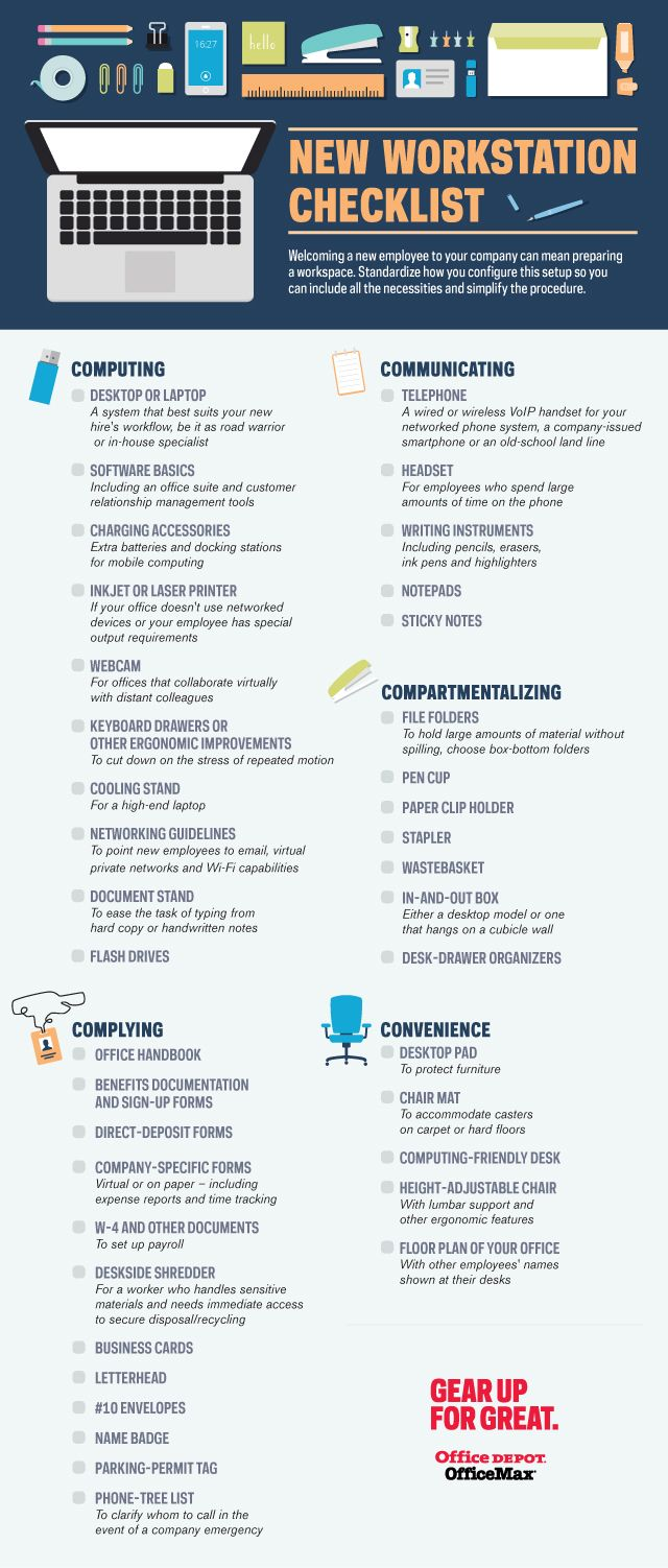 Ideas center new workstation checklist small business office depot reheart Image collections