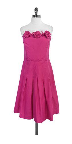 Lilly Pulitzer Fuschia Silk & Cotton Strapless Dress