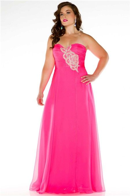 Simple A Line Strapless Long Neon Pink Chiffon Beading Plus Size ...