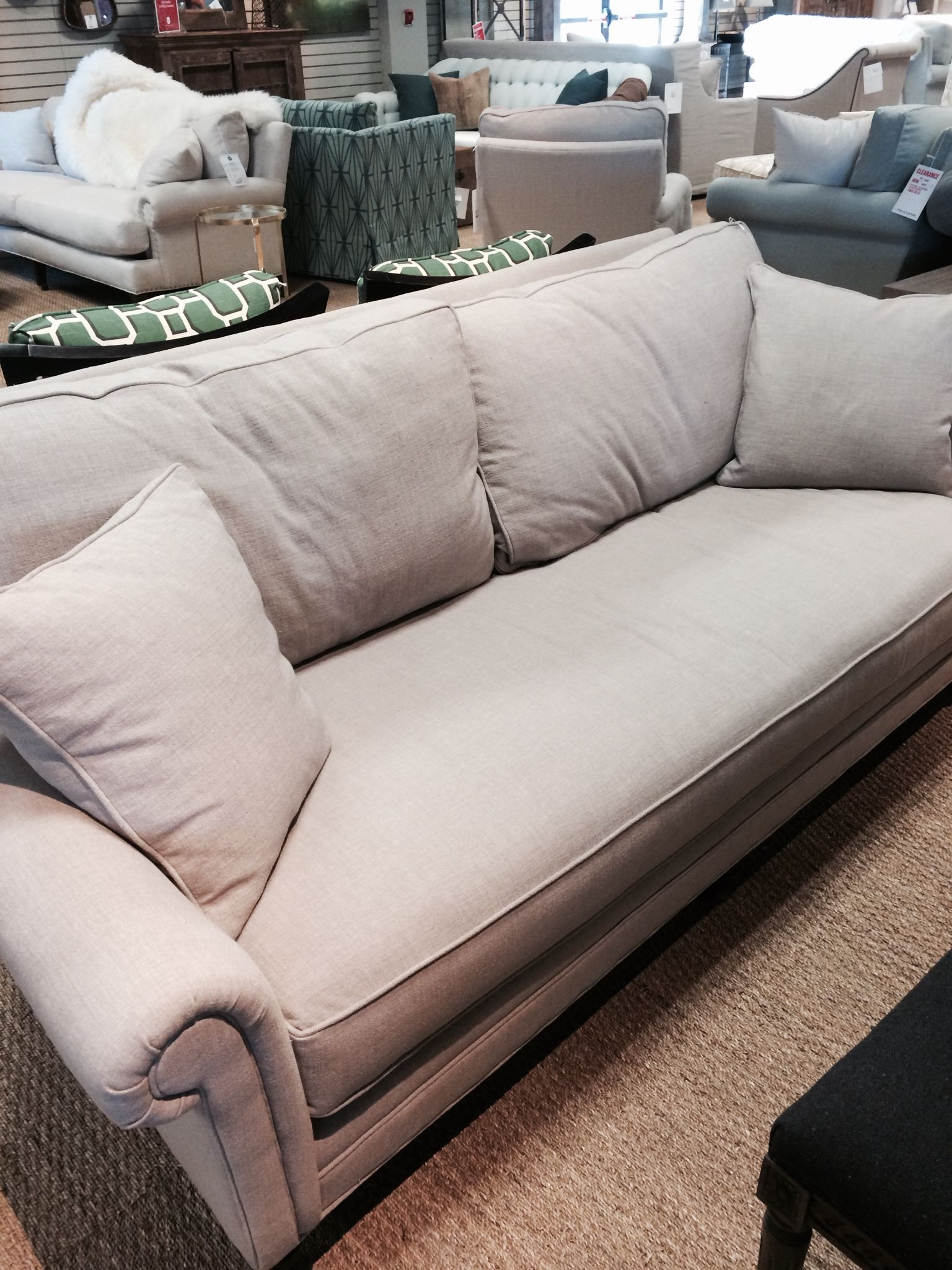price tag on Miles Talbott sofa at GDC