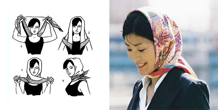 как завязывать маленький платок на голову