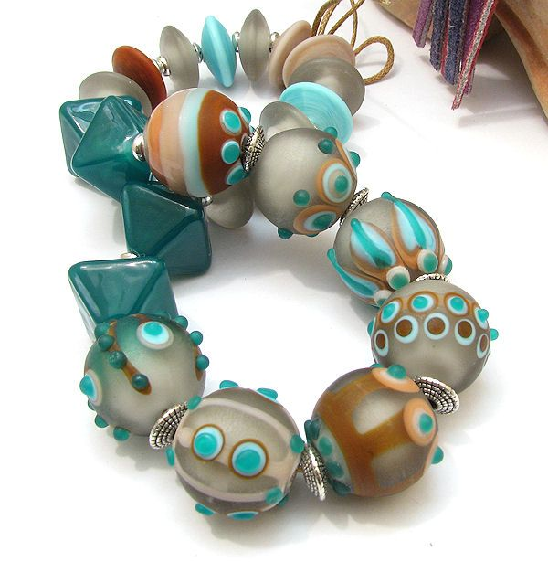 CLO Handmade glass lampwork beads - Earthy colours, grey, green, terracotta, turquoise
