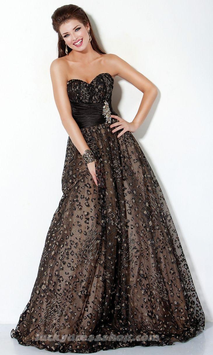 Black alineprincess strapless prom dress with crystal dresses