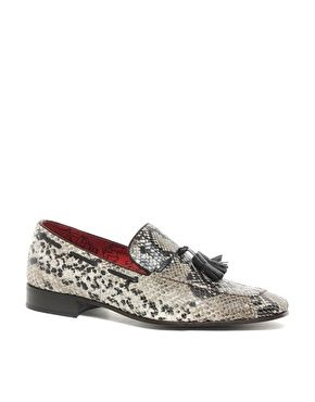 Jeffery West Snake Loafers in Beige Snake