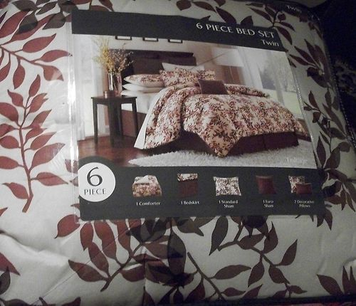 COMPLETE BED SET 6 PC FOLIAGETWIN SIZE COMFORTER BED IN A BAG CREAM RUST NIP $59.99