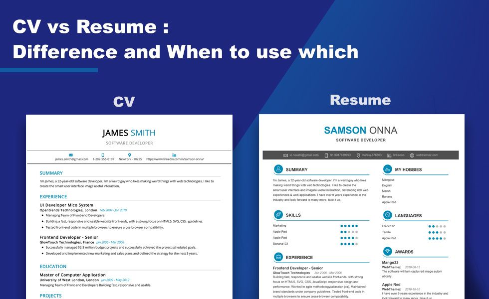 What is the difference between CV and Resume 2020 Resume