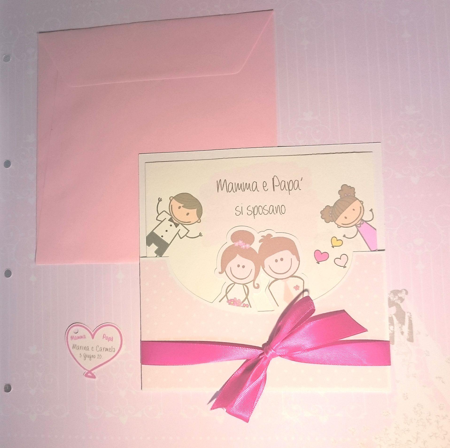 Partecipazioni Matrimonio Mamma E Papa Si Sposano.Partecipazione Collezione Mamma E Papa Si Sposano Rosa E Nastro