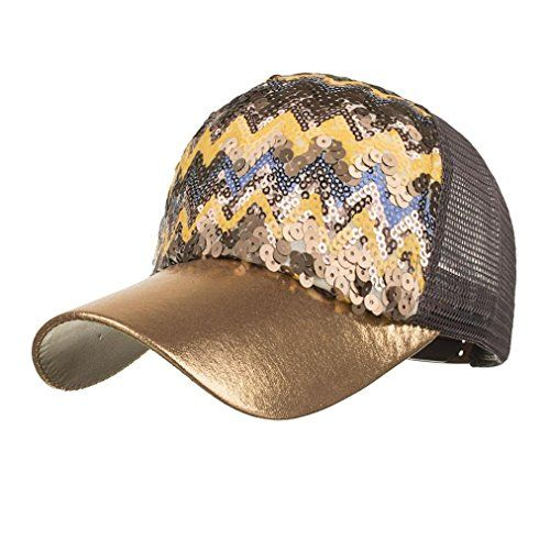 Women Ponytail Baseball Cap Sequins Shiny Messy Bun Snapback Hat Sun Caps  by WOCACHI 894ce58fac9c