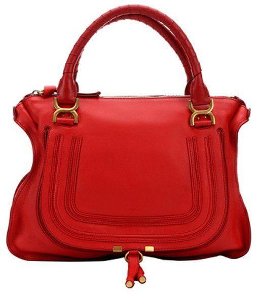 Chloe plaid red leather 'Marcie' top handle satchel