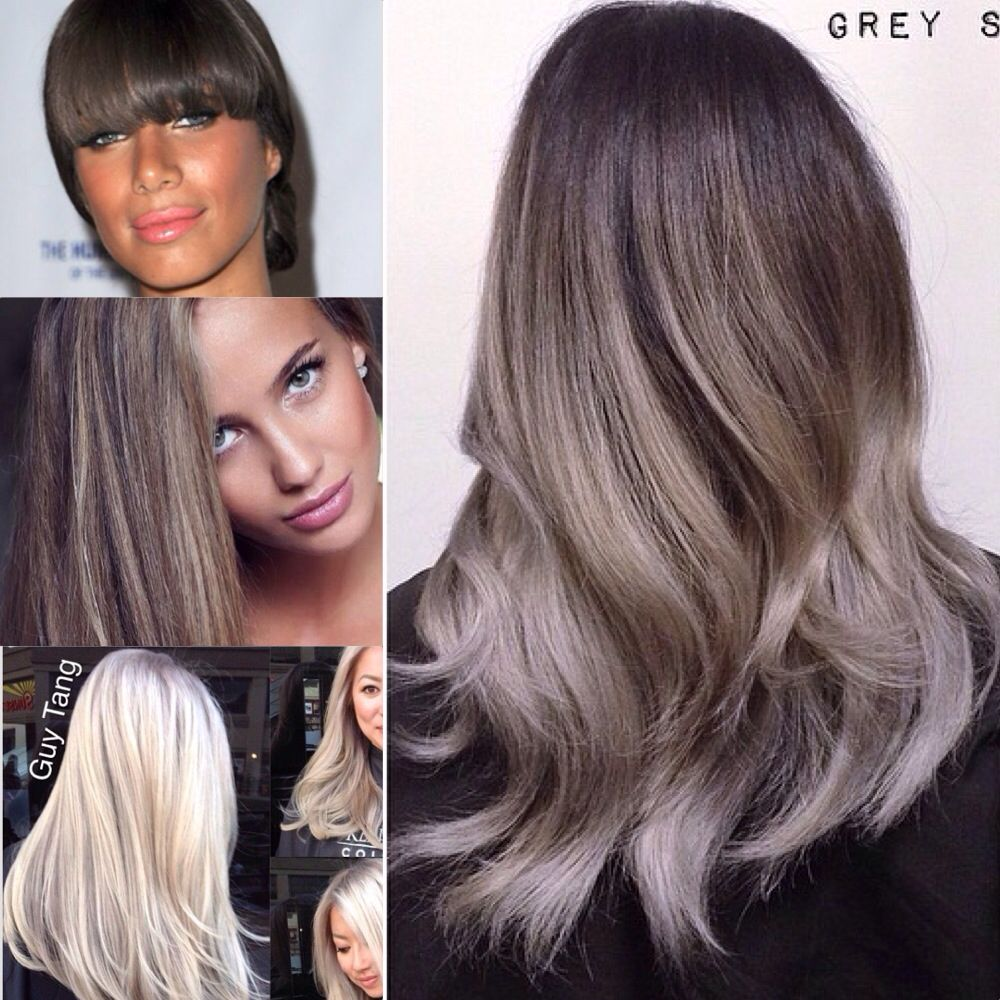 Dark Ash Brown To Platinum Ombre Icy Pearly Ash Hair Ash
