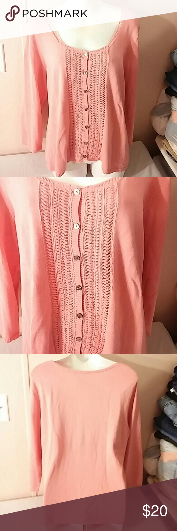 Evan Picone Pink Cardigan Sweater Women's XL Pink button down ...