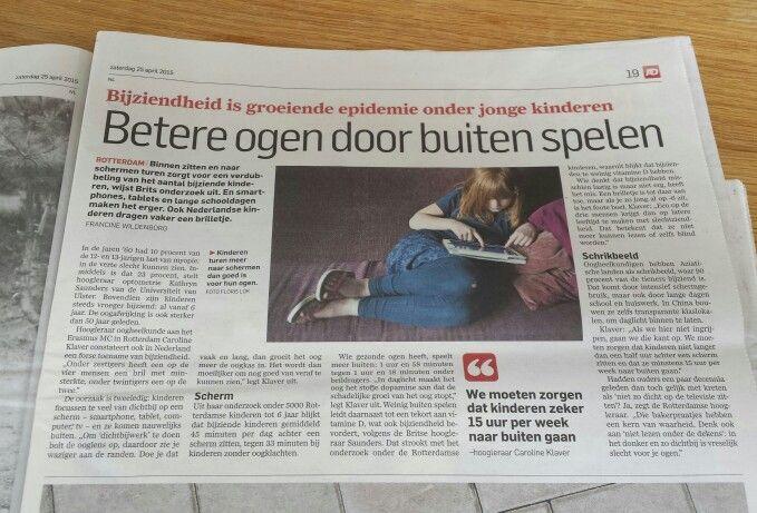 Photo of Bessere Augen, wenn man draußen spielt. Algemeen Dagblad 25. April 2015