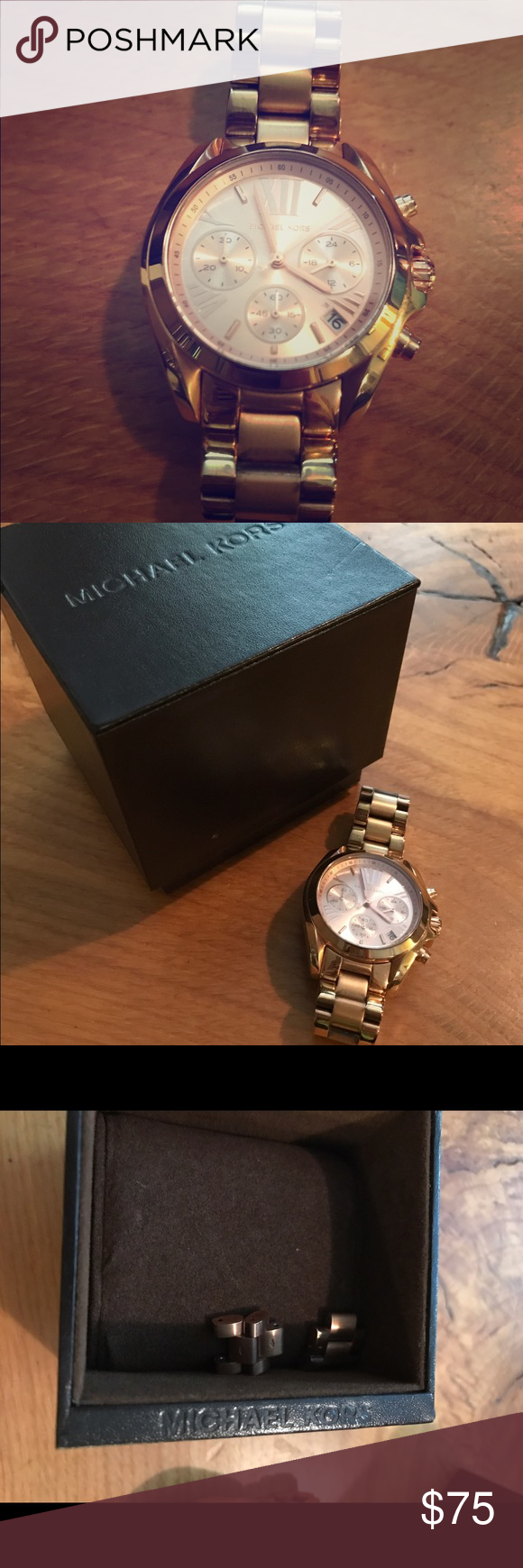Rose gold Michael Kors watch Beautiful watch with only minor scratches as shown. I have a small wrist between 5-6 in but comes with two extra links and box. Needs new battery but works great. Stainless steel. 251304 KORS Michael Kors Accessories Watches