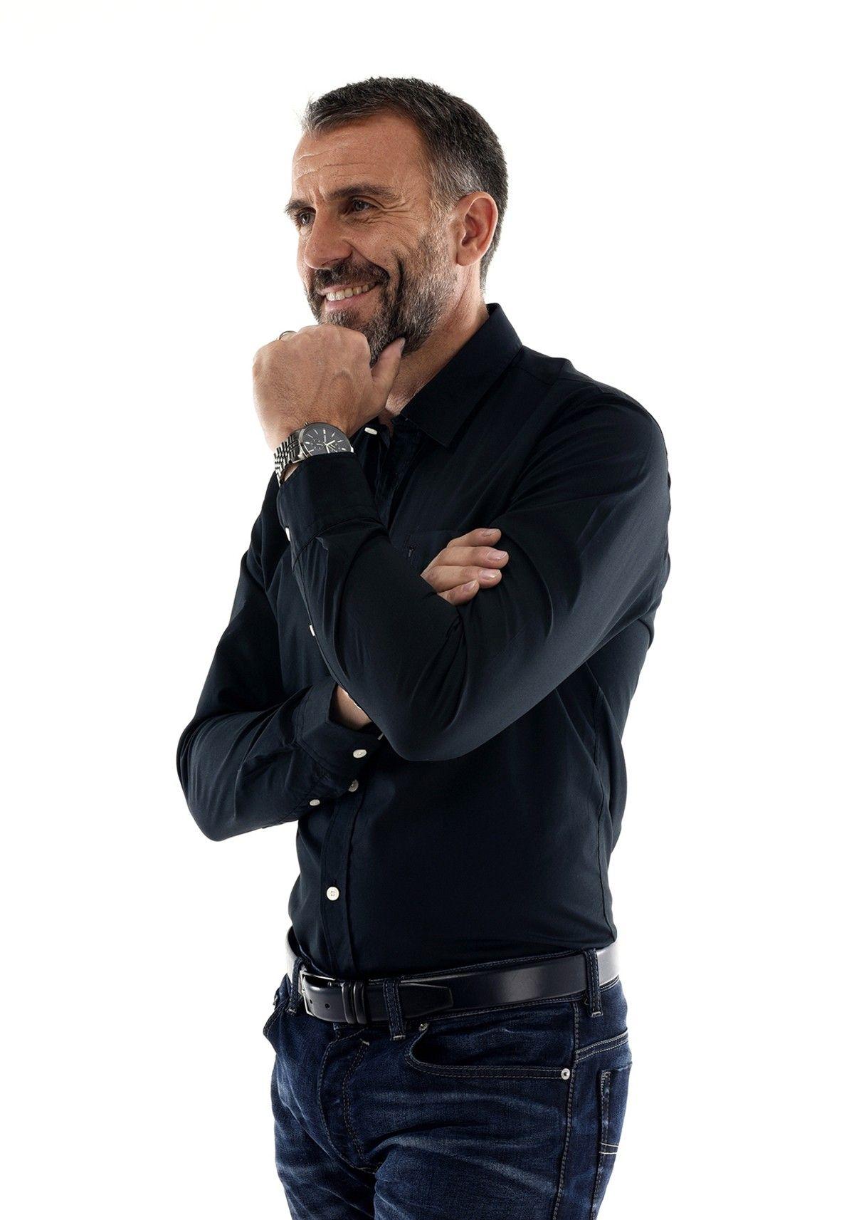 Chemise Homme noire style business   habillé en popeline - couleur noir -