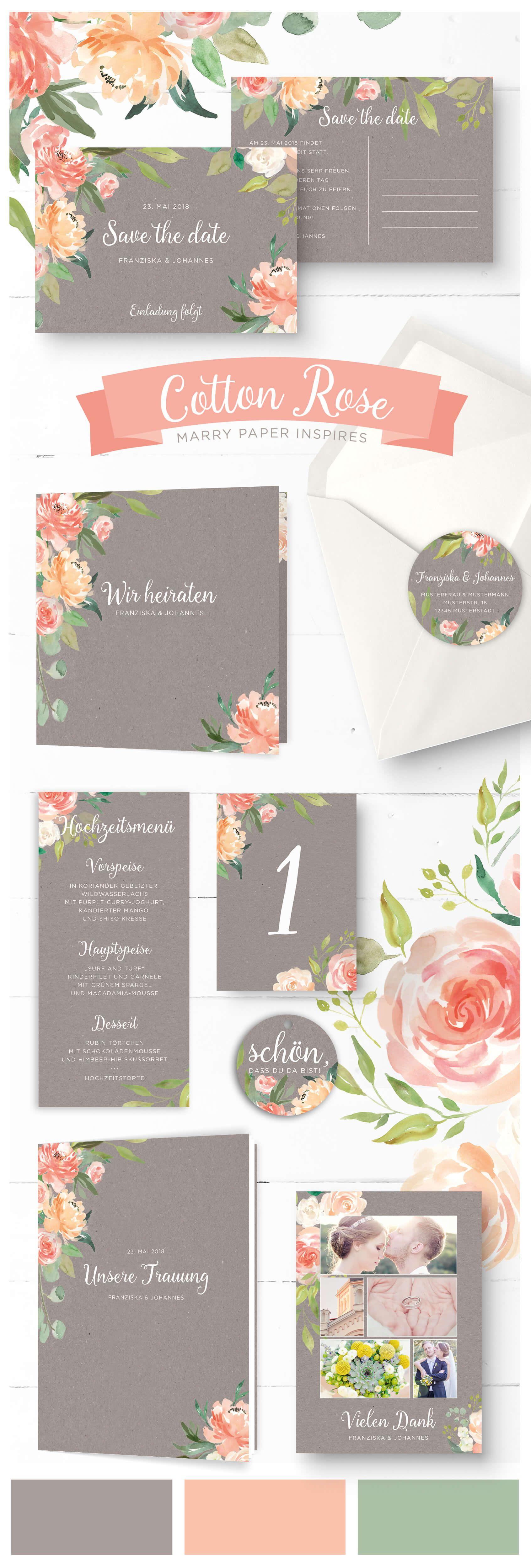 Cotton Rose Rustikal Romantische Hochzeitspapeterie