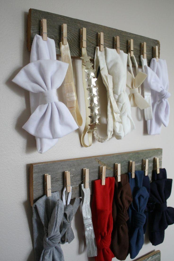 DIY rustic hair bow / head band organization. Pin found by Freebies-For-Baby.com