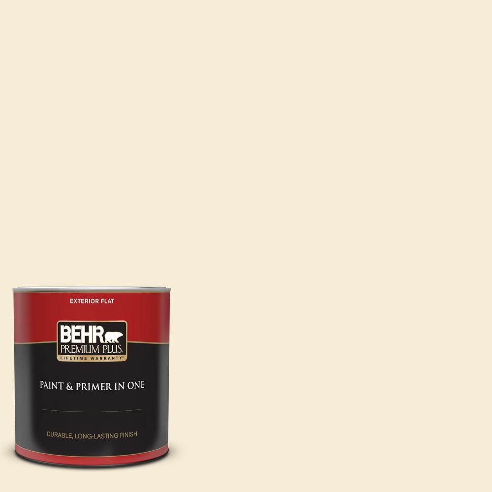 BEHR PREMIUM PLUS 1 qt. #330C-1 Honeysuckle White Flat Exterior Paint and Primer in One-405004 - The Home Depot