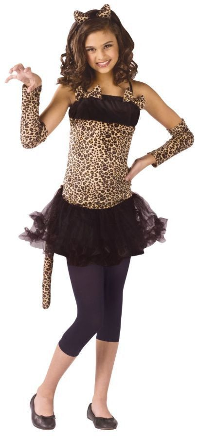 Leopard print dress has a net skirt and tail. Includes cat ear headpiece, sleevelets, and footless tights. Child SM 4-6.