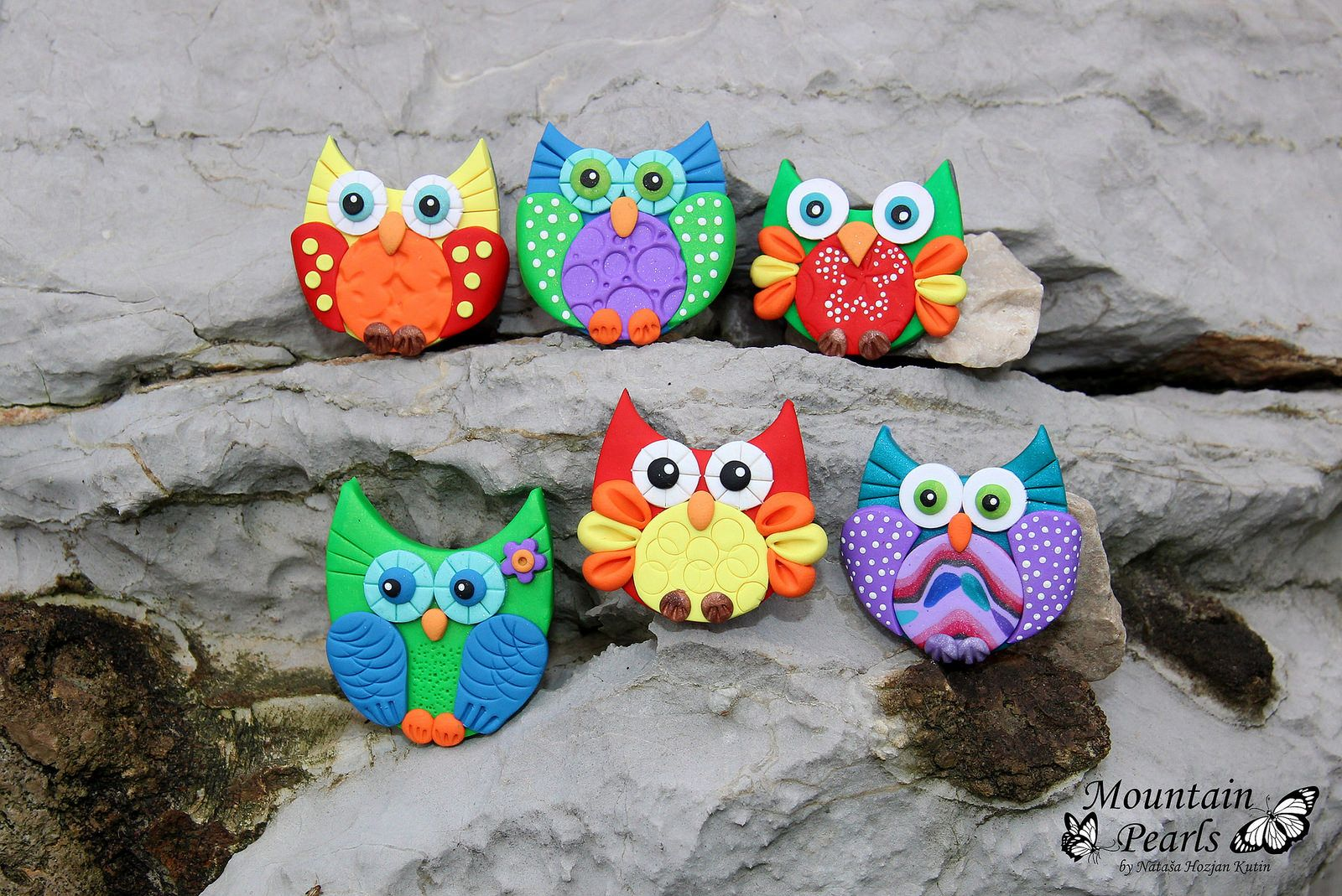 Owl magnet, polymer clay, Mountain Pearls by nataša Hozjan Kutin   by mountain.pearls