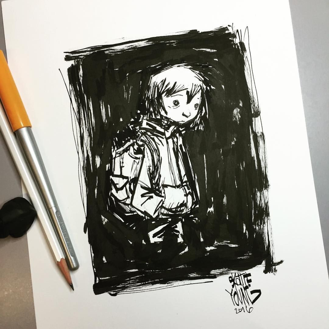 Sometimes you just sketch nothing at all. Original available http://skottieyoungstore.bigcartel.com #dailysketch #sketch #ink