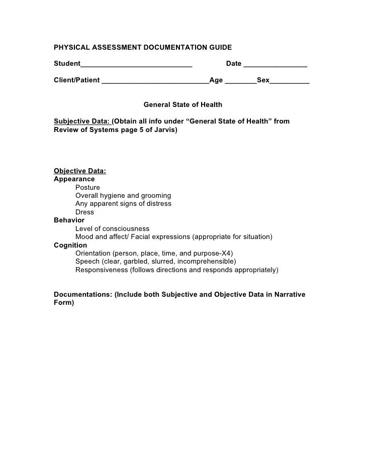 PHYSICAL ASSESSMENT DOCUMENTATION GUIDE - physical assessment form