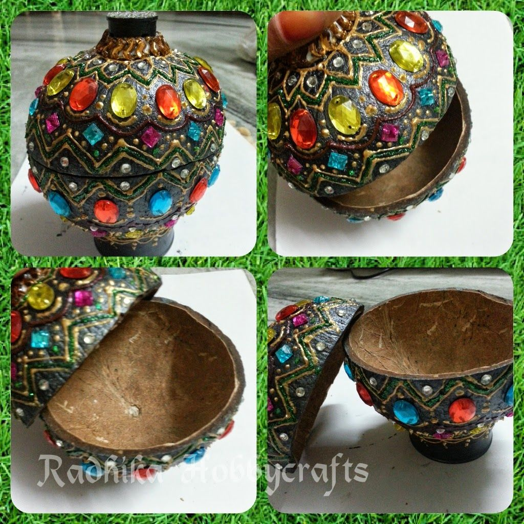 Hobby crafts coconut shell box hobby pinterest for Creative ideas out of waste