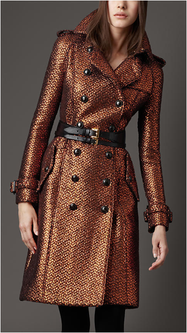 Burberry Textured Metallic Trench Coat. So amazing...is it too early to be loving coats for the Fall?! - ANN #ANNJANEcomingsoon