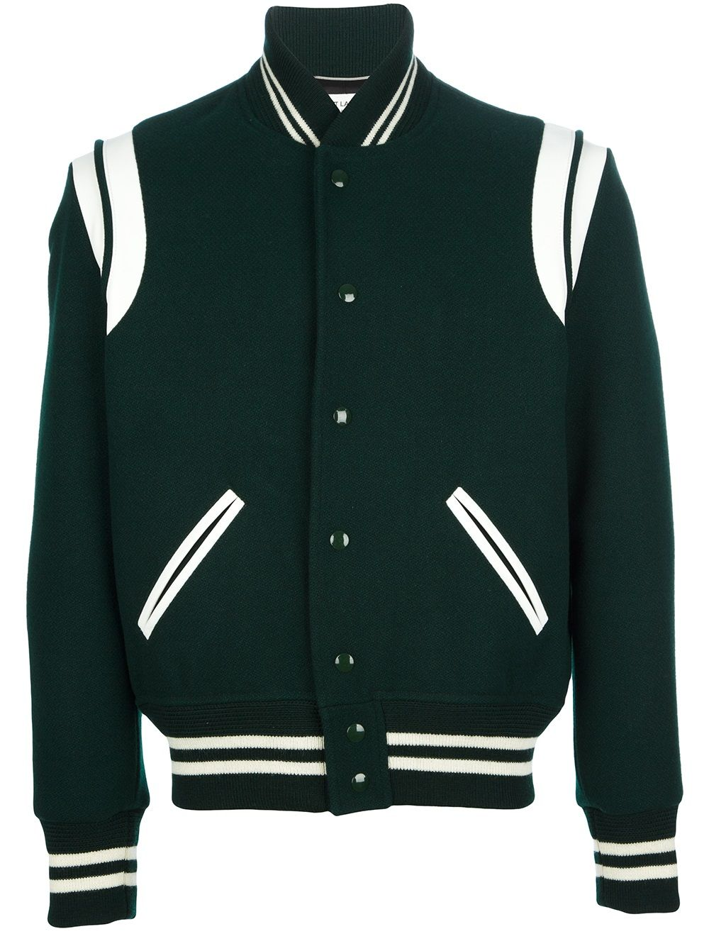 Saint Laurent Contrast Varsity Jacket | Blue/Green | Pinterest ...