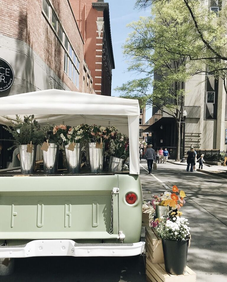 Flourish Flower Truck in downtown Market Square Knoxville