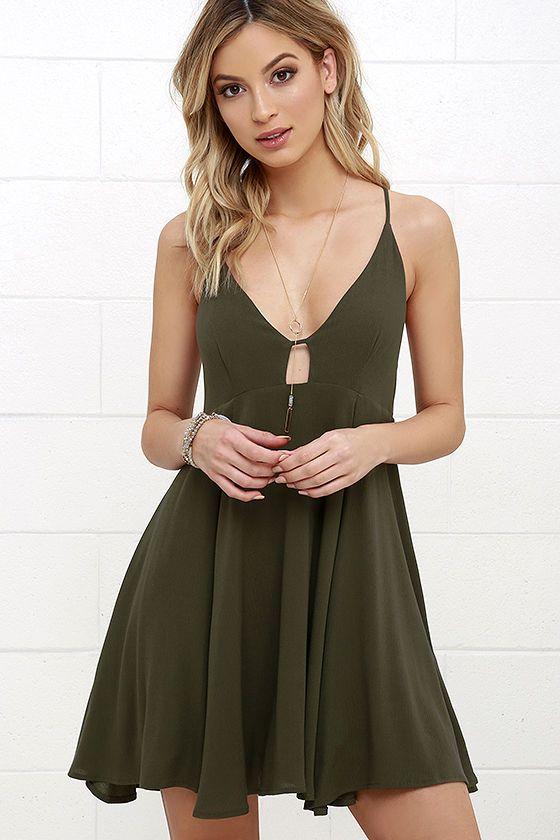Samana Bay Olive Green Dress   Full skirts, Woman clothing and ...