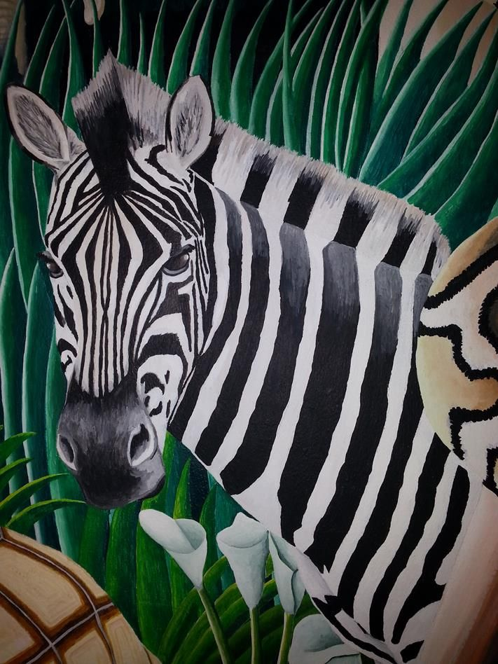 African Jungle/forest Scene   Zebra   Wall Mural   Murals Edge By Neil U0026 Part 91