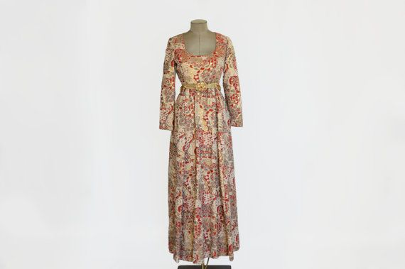 54418f075637 60's Vintage Gino Charles Brocade Dress/ Empire Waist/ Full Length on Etsy,  $275.00