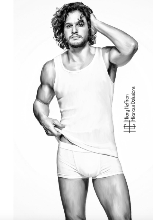 cf1414bb2829 Jon Snow knows nothing, but Kit Harrington knows his tight white underwear  is in the way.