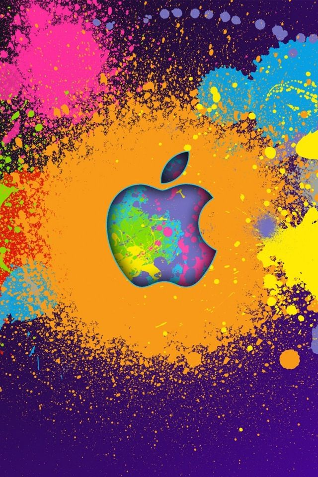 Paint Splatter Apple Sign So Cool Apple Wallpaper Iphone Ipad