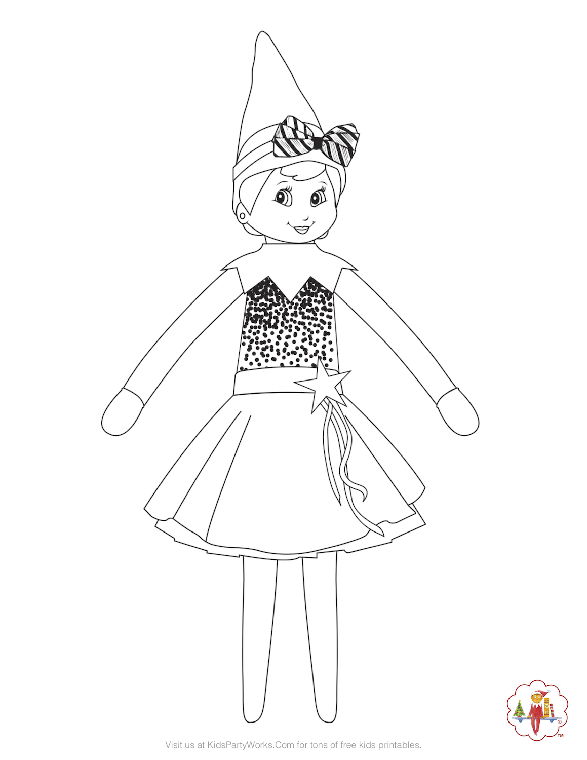 Girl Elf on the Shelf Coloring Page. She's ready for the