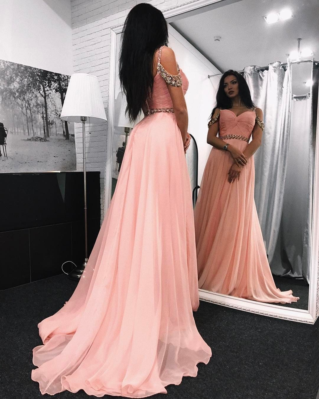 Off shoulder long pink crystal evening dress with beadschiffon pink