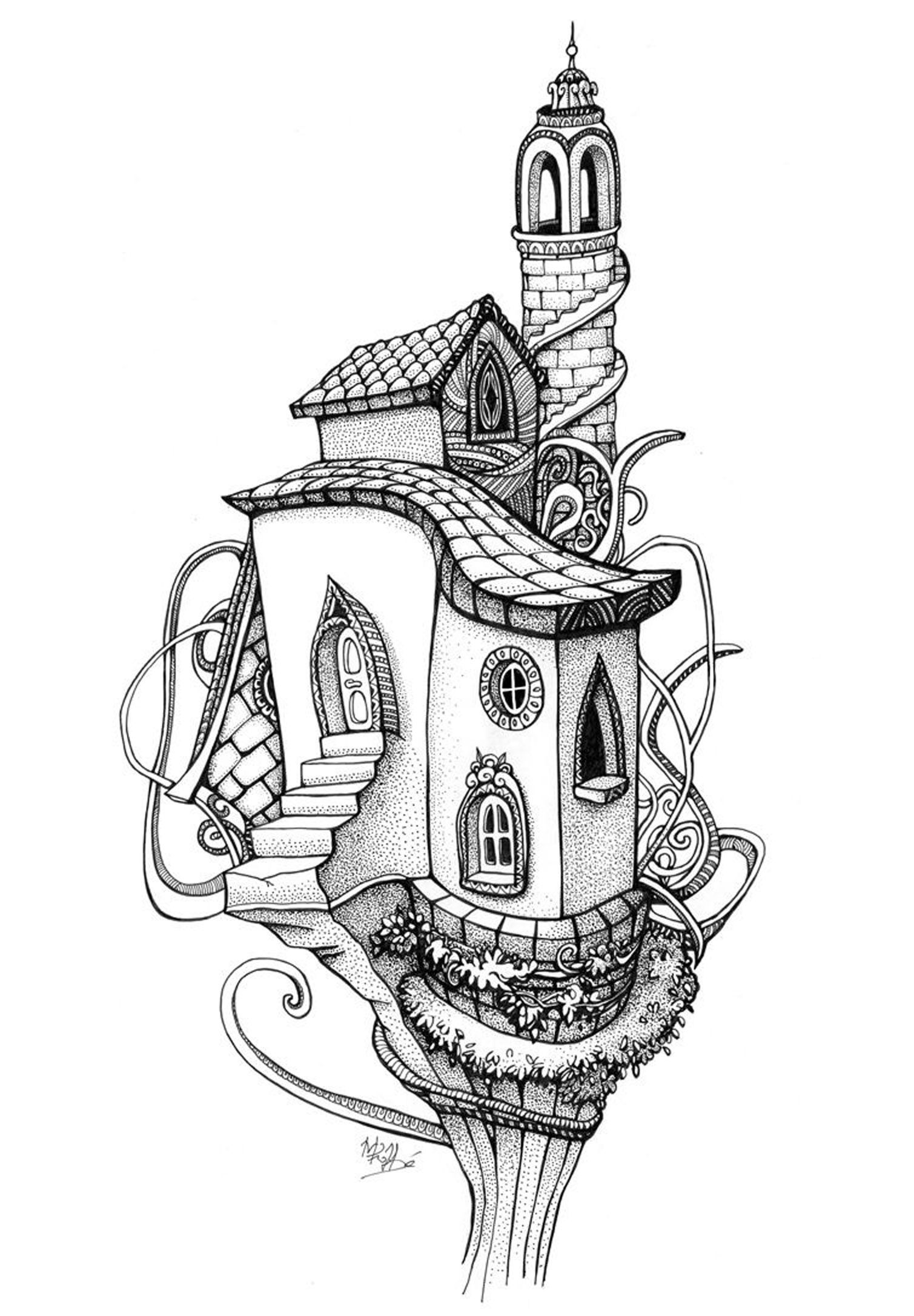 Free Coloring Page Architecture House In A Tree