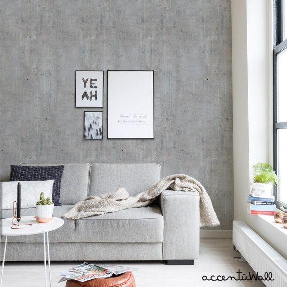 Cement Concrete Peel Stick Fabric Wallpaper Repositionable Concrete Wallpaper Wallpaper Living Room Fabric Wallpaper
