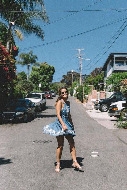 Wheretoget - Blue halter neck denim embroidered dress with black sunglasses and silver sandals