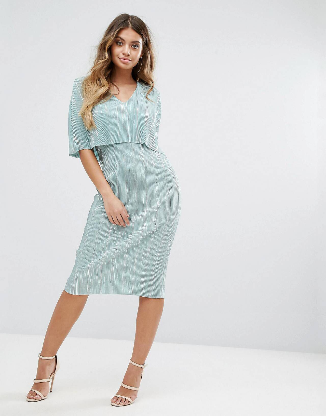 Club L Plisse Cape Overlay Midi Dress | Shoulder and Clothes