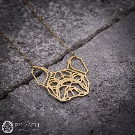 Dog necklace geometric necklace dog pendent animal by ByYaeli