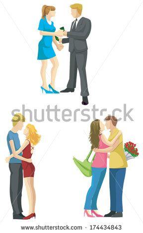 Loving Couple Boyfriend Girlfriend Cartoon Sketch Is Kissing Hugging