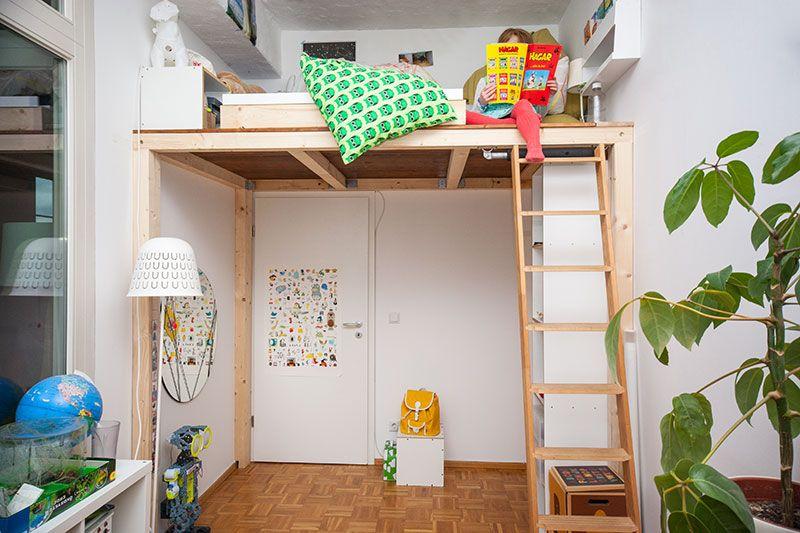 ein hochbett selber bauen diy anleitung kinderzimmer. Black Bedroom Furniture Sets. Home Design Ideas